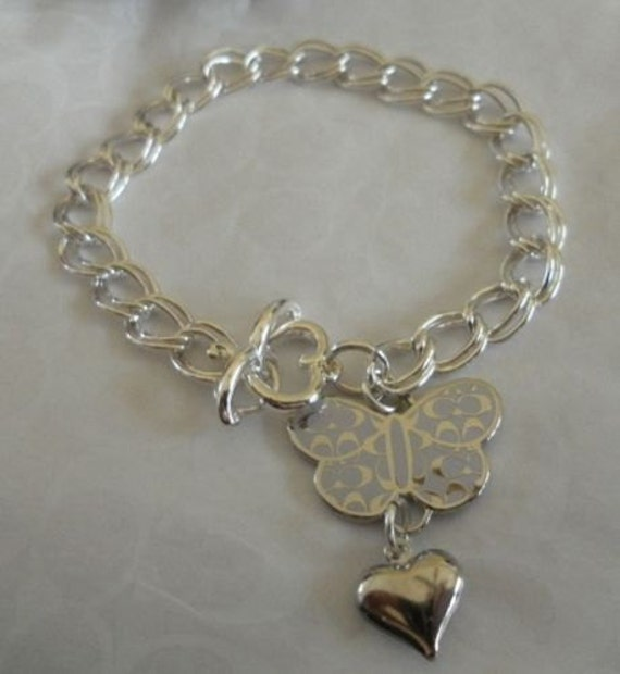 """COACH Lavender & Silver Signature """"C"""" Butterfly Charm w/ Heart on Silver Plated Bracelet...BEAUTIFUL"""