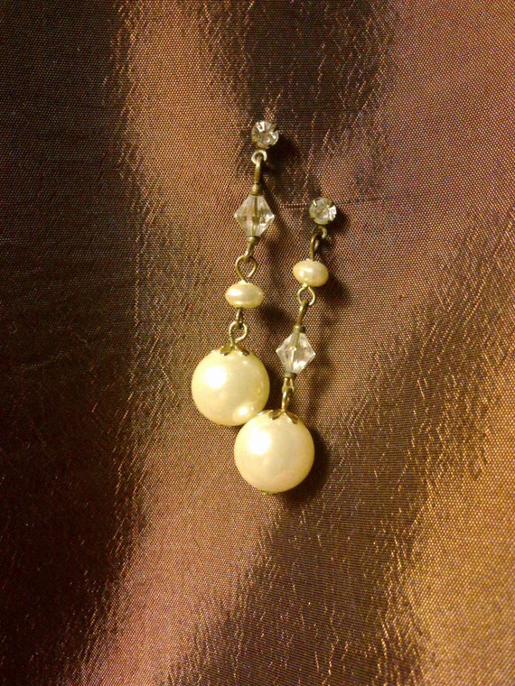 RESERVED for S.M.Steampunk Wedding Earrings - Asymmetrical Faux pearls and sparkly bits