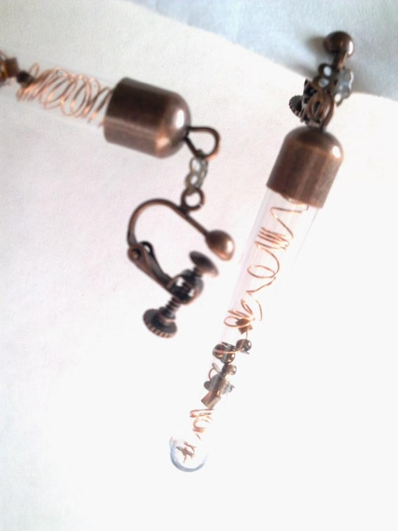 Steampunk Earrings - 'Spiralling into Control' - tiny cogs and coiled copper wire. Adjustable clip-on ear screws.