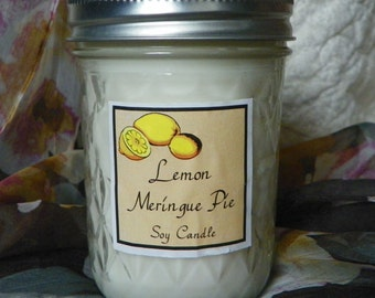 Lemon Meringue Pie 8 oz. Jelly Jar Natural Soy Candle by Abigail's on Main