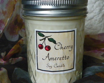 Cherry Amaretto 8 oz. Jelly Jar Natural Soy Candle by Abigail's on Main