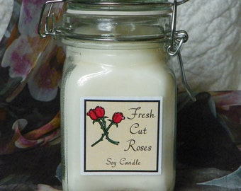 Fresh Cut Roses Large Apothecary Jar Natural Soy Candle by Abigail's on Main