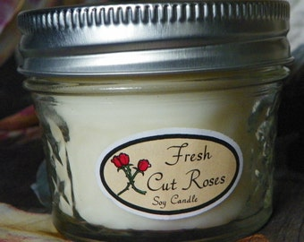 Fresh Cut Roses 4 oz. Jelly Jar Natural Soy Candle by Abigail's on Main