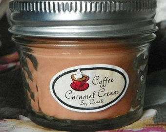 Coffee Caramel Cream 4 oz. Jelly Jar Natural Soy Candle by Abigail's on Main