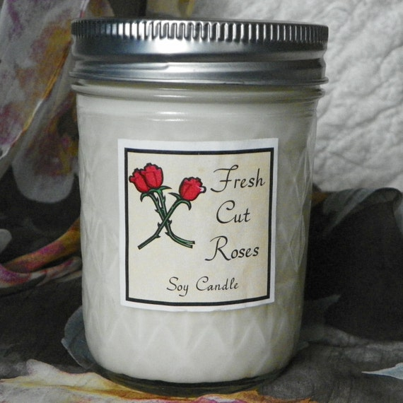 Fresh Cut Roses 8 oz. Jelly Jar Natural Soy Candle by Abigail's on Main