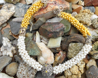 Fine Silver PMC Beads/Yellow and White Pearl Necklace