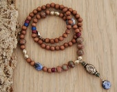 ethnic necklace - yoga jewelry -  lotus flower necklace with wood, garnet and sodalite