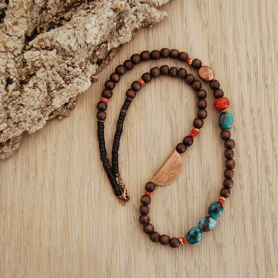 yoga jewelry - lotus necklace with chrysocolla, coral, wood - Utpala