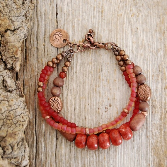 Red coral and copper lotus charm yoga bracelet