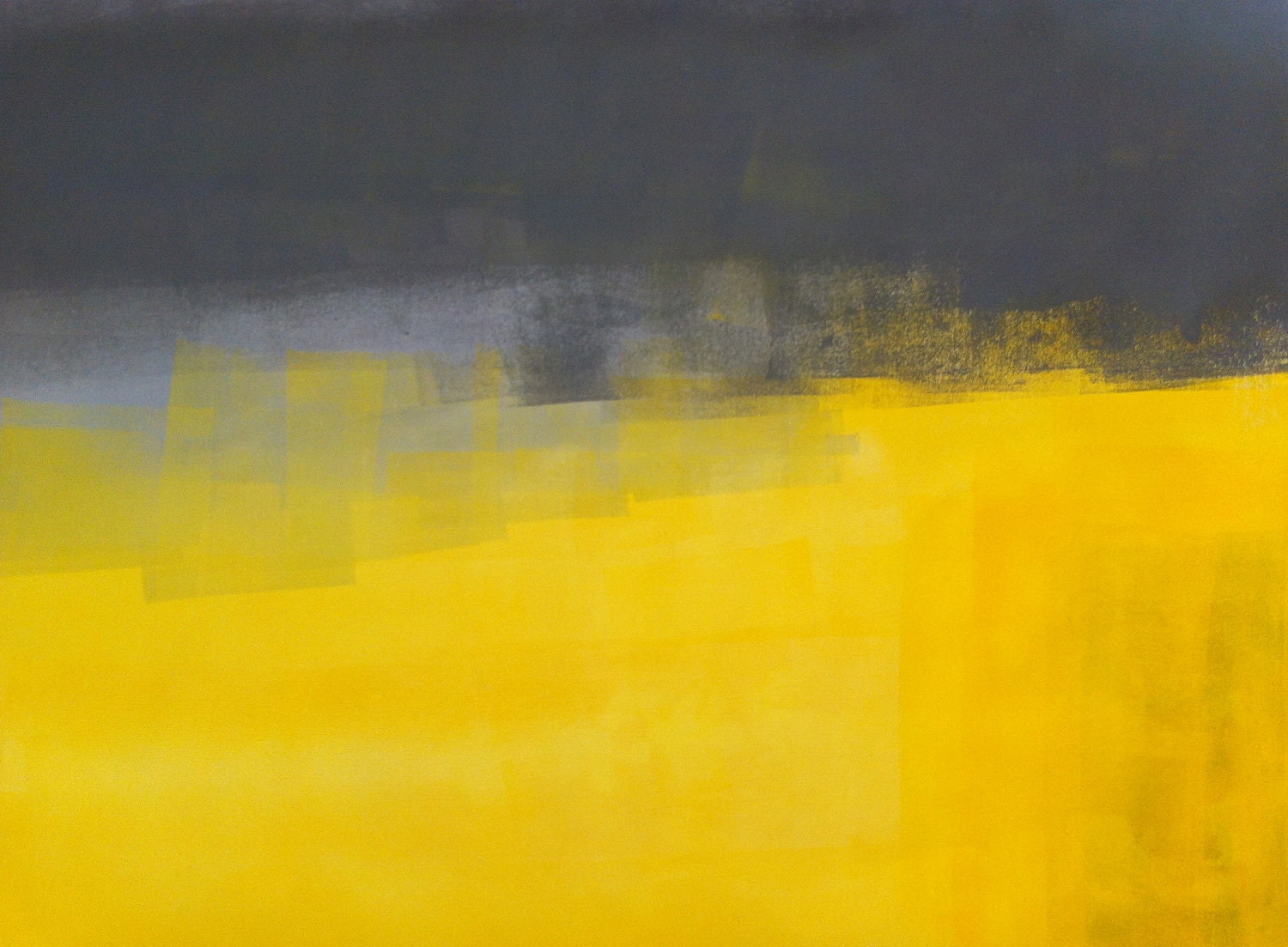 Acrylic abstract art painting yellow and grey modern for Yellow and gray paint