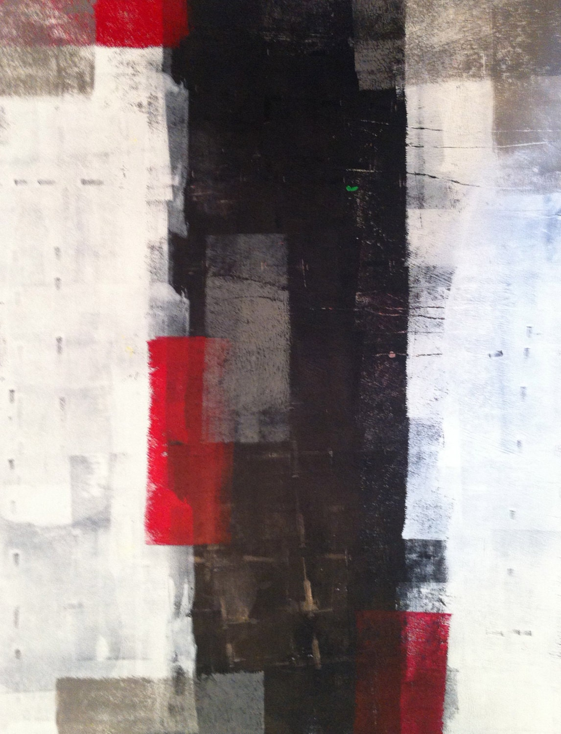 Acrylic abstract art painting black grey red white for Abstract painting on black canvas