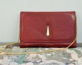 Vintage red leather purse with gold chain strap