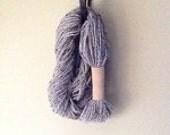 Grey Marble Yarn eternity Scarf with sand suede trim