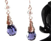 Amethyst Crystal Earrings, sterling silver hooks with Swarovski crystal bicones and wire-wrapped crystal briolettes