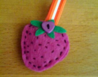 Felted Strawberry Brooch