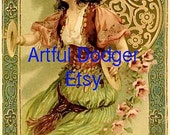 Gypsy Lady Vintage Postcard Digital Art