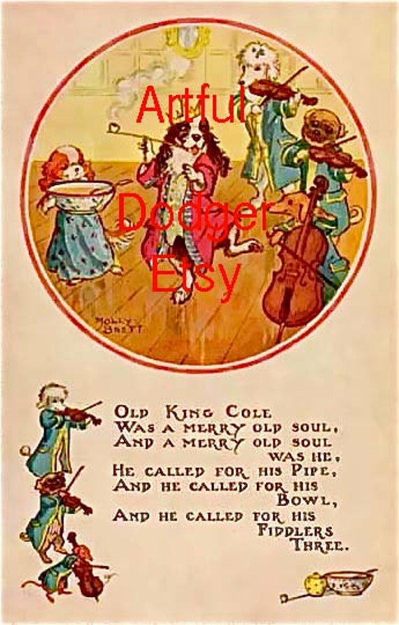 Items similar to nursery rhyme old king cole vintage for Old king cole coloring page