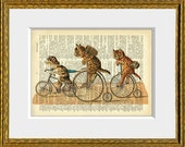 BIKERS recycled book page art print - an upcycled 1800's dictionary page with a vintage cat and dog biking illustration - wall decor