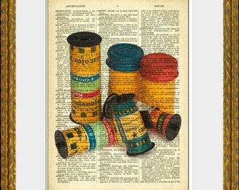OLD FILM recycled book page art print - an upcycled antique dictionary page with retooled photography illustration - home decor