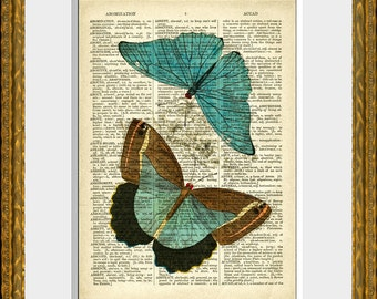 Dictionary page art print - BUTTERFLY COLLAGE 4 - an upcycled antique dictionary page with an antique insect illustration - wall art
