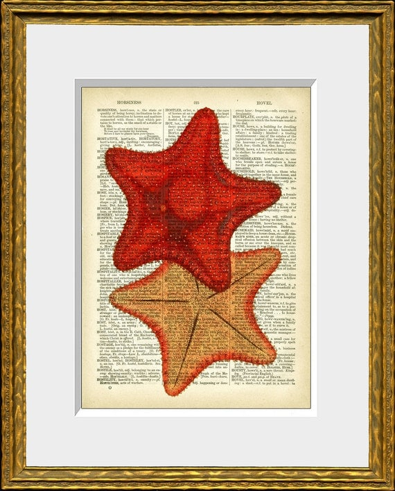 Red Starfish Wall Decor : Book page art print red starfish upcycled antique