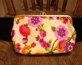 Vintage 60s Floral Double Snap Clasp Frame Purse Wallet Makeup Bag Pink Purple & Yellow Flowers