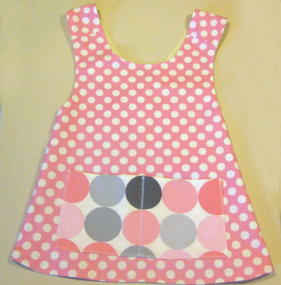ON SALE:  Pink and white pokadot  pinafore APRON in Michael Miller fabric size  3T