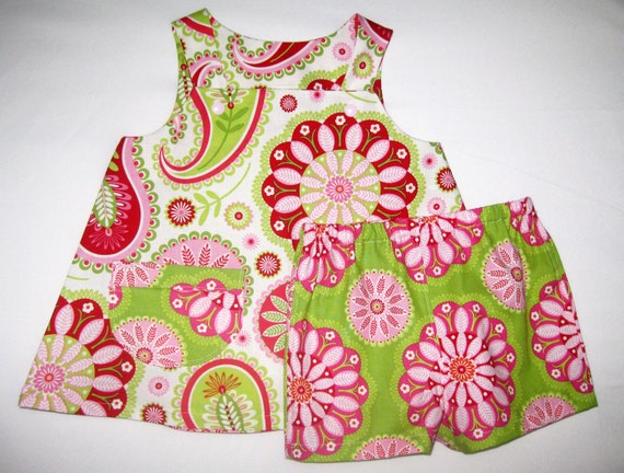 Rose Gypsy Paisley summer outfit for toddler girl