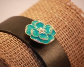 Handmade Leather Cuff Bracelet with Turquoise Flower
