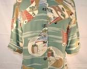 Elegant Japanese print blouse with Mandarin collar