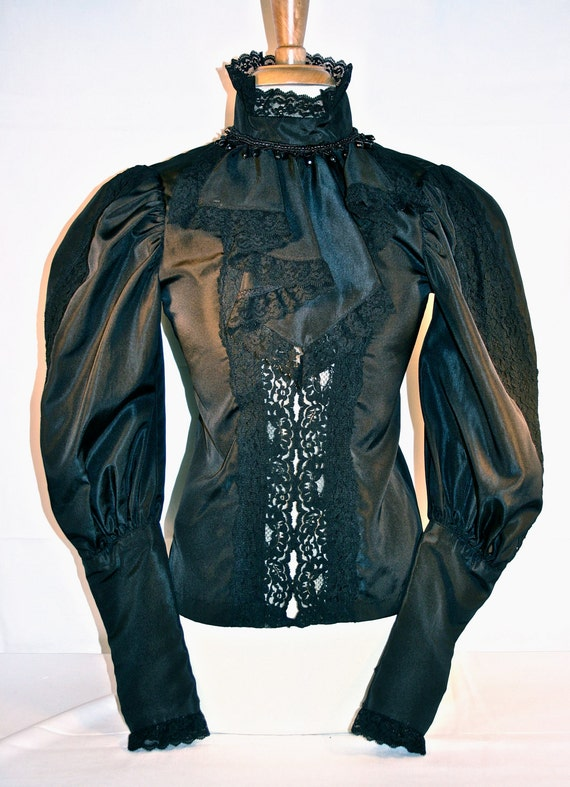 Replica Victorian blouse in gothic black, size medium