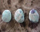 Ruby in Fuchsite - Faceted Hand Cut Top Drilled - Designer Bead - Natural - Lot of 3