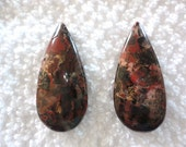 Poppy Jasper - Pendant Top Side Drilled - Lot of 2 Beads - Jewelry Findings
