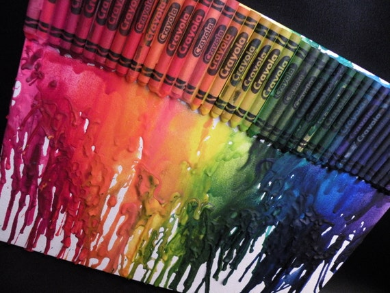 """11""""x14"""" Rainbow Melted Crayons on Canvas"""