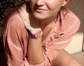 Copper Mandorla Rwandan Textile Bracelet Wrap - Wild Magenta