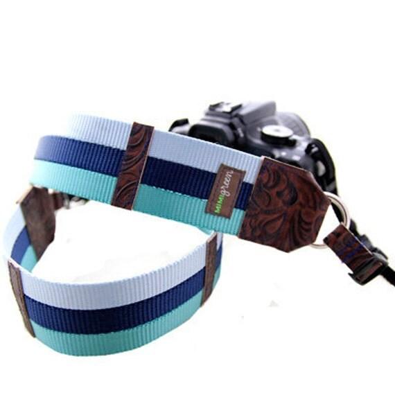 Blue & Teal Webbing Designer DSLR Camera Strap with Quick Release Buckles