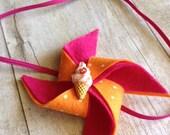 Fuschia and tangerine wool felt polka-dotted pinwheel baby-toddler-child headband