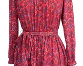 Cute red floral vintage 60s / 70s Lanz hippie / boho mini, tie waist, button up bib collar, balloon sleeves, softest jersey XS S M