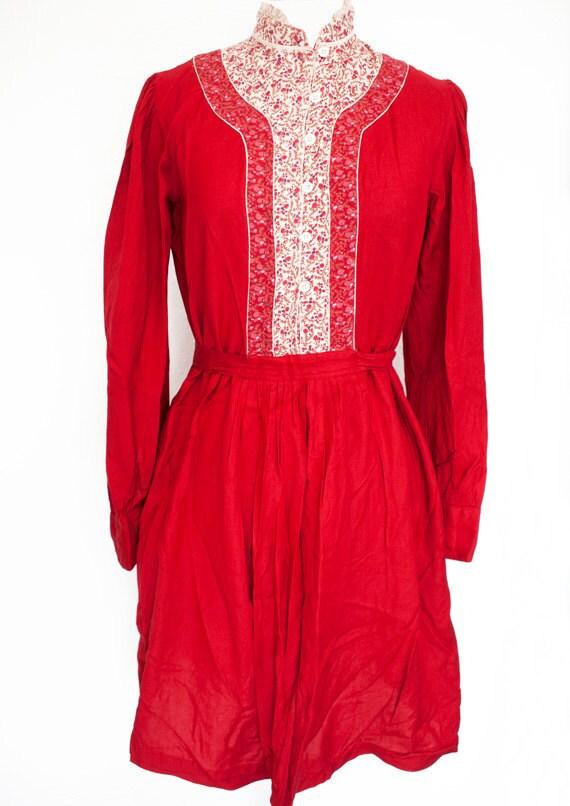 Vintage 60s / 70s hippie / boho / gypsy / prairie / festival dress, made in india, 100% rayon S M
