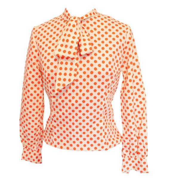 50% OFF SALE Vintage BOHO polka dot shirt // black polka dot blouse // retro polka dot top // formal polka dot shirt // small // boxy 80's a BeigeVintageCo. 5 out of 5 stars Orange and White Polka Dot Blouse Size M LottieDottieVintage. 5 out of 5 stars () $