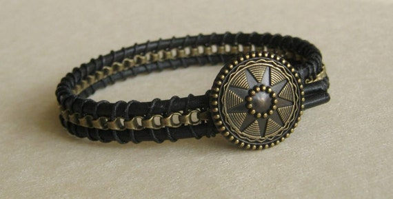 Men's bracelet with black leather and antique brass chain with starburst button clasp, custom made for any wrist size