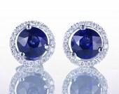 White Gold Ceylon Sapphire and Diamond Stud Earrings