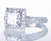 14 Karat Square Princess Cut Diamond Halo Solitaire Engagement Wedding Anniversary Ring