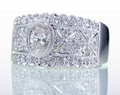 Oval Cut Bezel Diamond Filigree Engagement Ring Wedding Right Hand Cocktail Band
