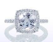 Cushion Cut Halo Diamond Engagement Wedding Ring