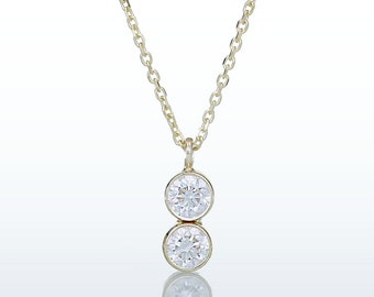 Double BEZEL Diamond Solitaire Pendant