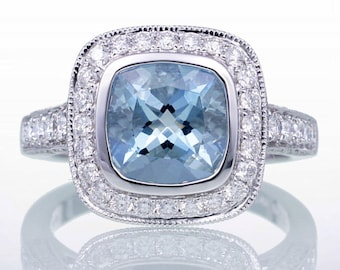 Cushion Cut Aquamarine Diamond Halo Pave Filigree Bezel Set Engagement Solitaire Wedding Ring
