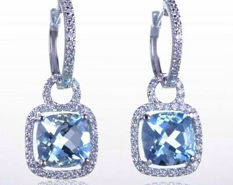 MTO Cushion Cut Aquamarine w/ Diamond Accent Dangling Earrings