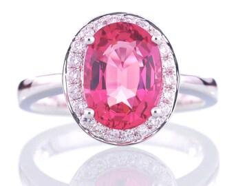Pink Tourmaline Diamond Halo Ring