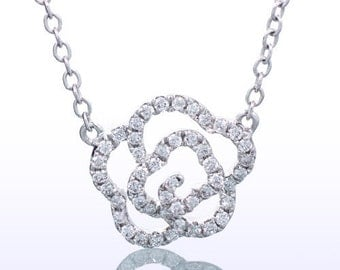 White Gold Diamond Flower Rose Dainty Diamond Necklace